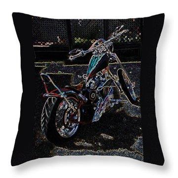 Throw Pillow featuring the digital art Aztec Neon Art by Lesa Fine