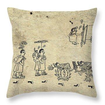 Aztec Priests Throw Pillow