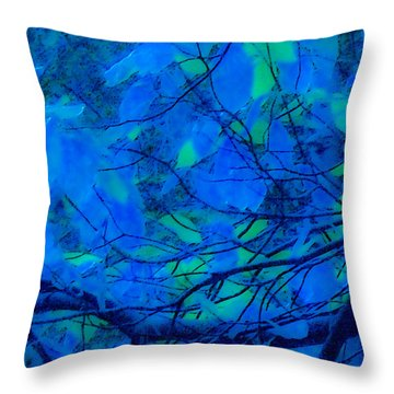 Throw Pillow featuring the digital art Azure Leaves by Kristen R Kennedy