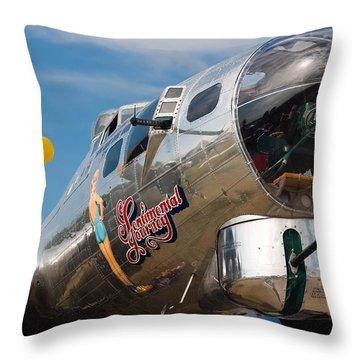 B-17 Flying Fortress Throw Pillow by Adam Romanowicz