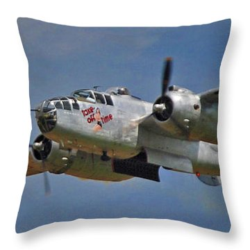 B-25 Take-off Time 3748 Throw Pillow