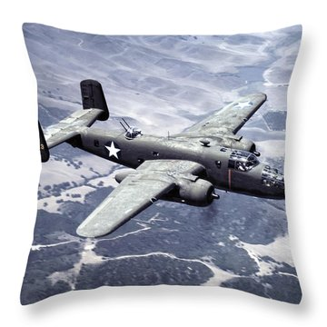 B-25 World War II Era Bomber - 1942 Throw Pillow by Daniel Hagerman