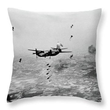 B-26 Martin Marauder Aircraft Dropping Throw Pillow