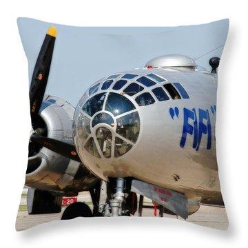 B-29 Bomber Fifi Throw Pillow