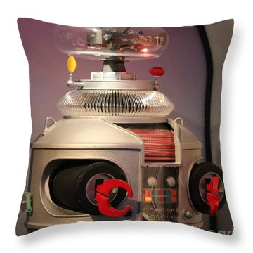 Throw Pillow featuring the photograph B-9 Robot From Lost In Space by Cynthia Snyder