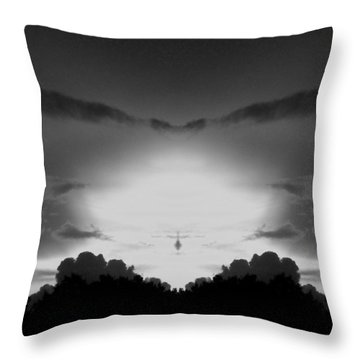 Helicopter And Stormy Sky Throw Pillow