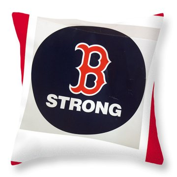 B Strong Red White And Blue Throw Pillow by Caroline Stella