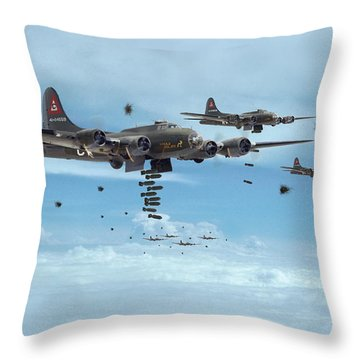 B17 - Mighty 8th Arrives Throw Pillow by Pat Speirs