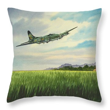 B17 Over Norfolk England Throw Pillow by Bill Holkham