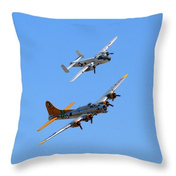 Throw Pillow featuring the photograph B25 Mitchell And B17 Flying Fortress by Jeff Lowe