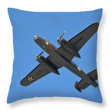 B25 Mitchell Wwii Bomber On 70th Anniversary Of Doolittle Raid Over Florida 21 April 2013 Throw Pillow