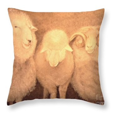 Throw Pillow featuring the drawing Baa Humbug by Mary Lynne Powers