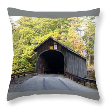 Babbs Covered Bridge Throw Pillow by Catherine Gagne