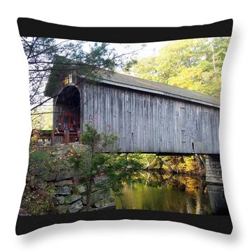 Babbs Covered Bridge In Maine Throw Pillow by Catherine Gagne
