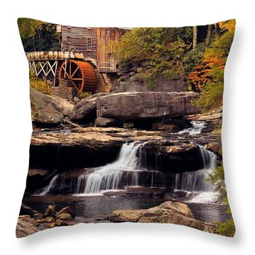 Throw Pillow featuring the photograph Babcock Grist Mill And Falls by Jerry Fornarotto