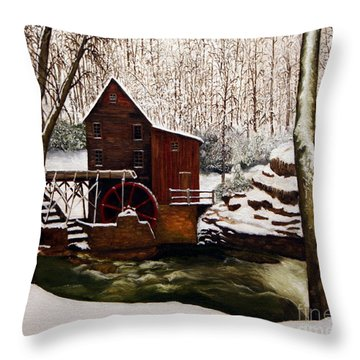Babcock Mill In The Snow Throw Pillow by Timothy Smith