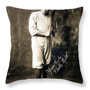 Babe Ruth 1920 Throw Pillow by Mountain Dreams
