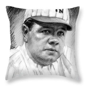 Throw Pillow featuring the drawing Babe Ruth by Viola El