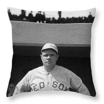 Babe Ruth In Red Sox Uniform Throw Pillow by Underwood Archives