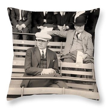 Babe Ruth In The Stands At Griffith Stadium 1922 Throw Pillow