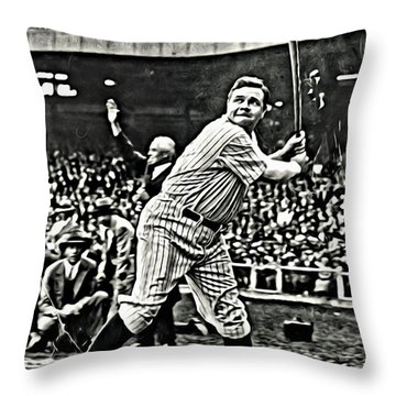 Babe Ruth Painting Throw Pillow by Florian Rodarte