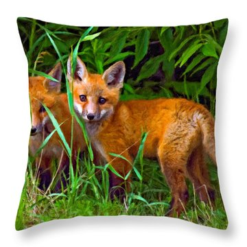 Babes In The Woods Impasto Throw Pillow by Steve Harrington