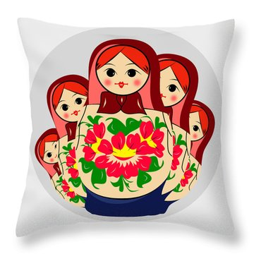 Babushka Throw Pillow by Mark Ashkenazi