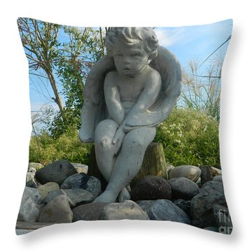 Throw Pillow featuring the photograph Baby Angel Statue by Emmy Marie Vickers