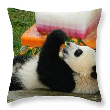 Baby Bao Bao's First Birthday Throw Pillow by Emmy Marie Vickers