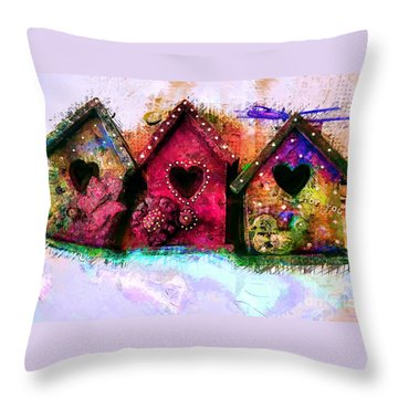 Baby Birdhouses Throw Pillow