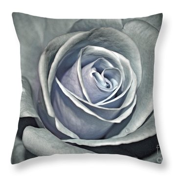 Throw Pillow featuring the photograph Baby Blue Rose by Savannah Gibbs