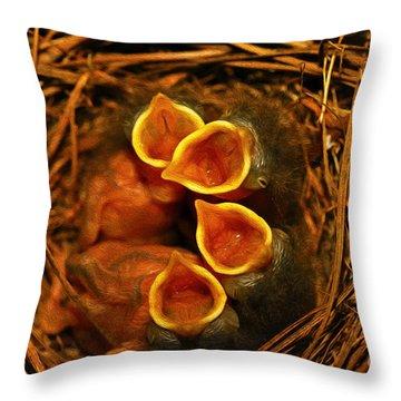 Baby Bluebirds Throw Pillow