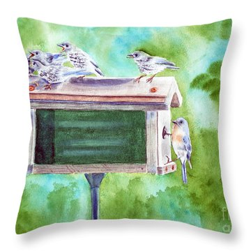 Baby Blues - Eastern Bluebird Family Throw Pillow by Kathryn Duncan