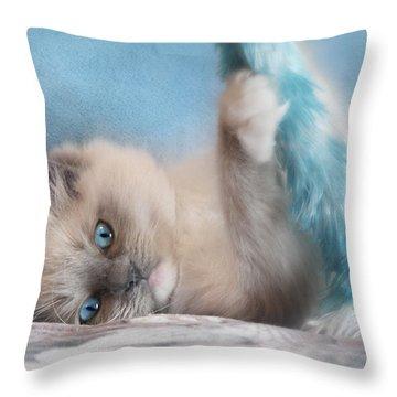Baby Blues Throw Pillow by Lori Deiter
