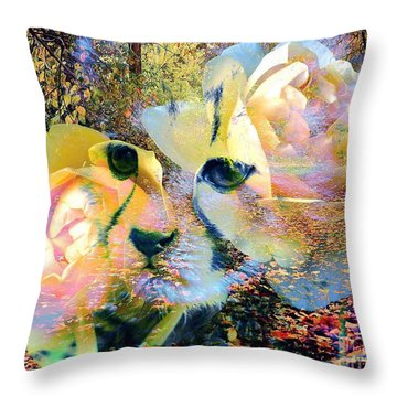Baby Cheetah And Roses In Wilderness Throw Pillow