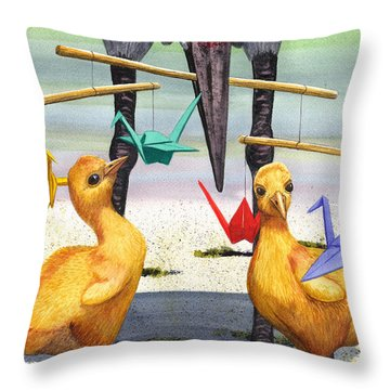 Baby Cranes Throw Pillow