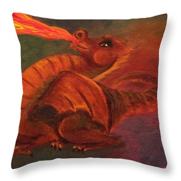 Baby Dragon Practices Fire-breathing Throw Pillow