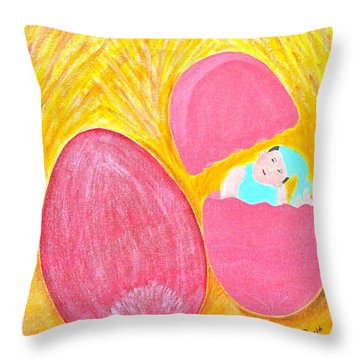 Throw Pillow featuring the painting Baby Egg by Lorna Maza