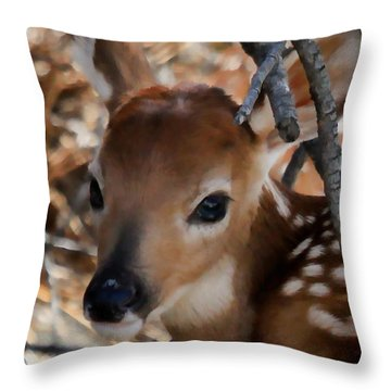 Baby Face Fawn Throw Pillow