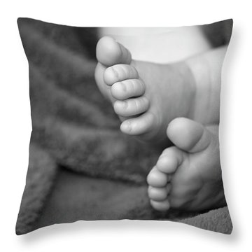 Baby Feet Throw Pillow by Carolyn Marshall