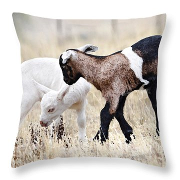 Baby Goats Painting Throw Pillow
