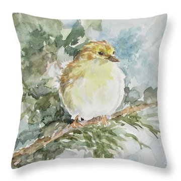 Baby Goldfinch Throw Pillow