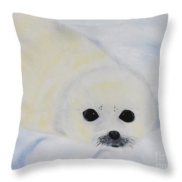 Baby Harp Seal Throw Pillow by Bev Conover