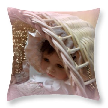 Baby In Pink Throw Pillow by Pamela Hyde Wilson