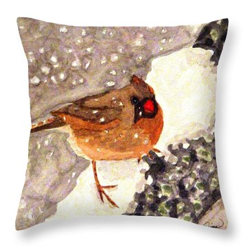 Throw Pillow featuring the painting Baby Its Cold Outside by Angela Davies