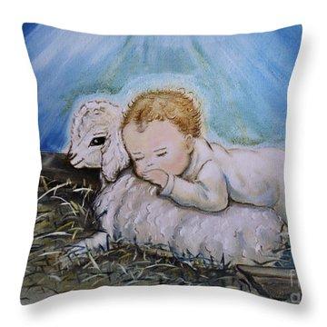 Baby Jesus Little Lamb Throw Pillow by Nava Thompson