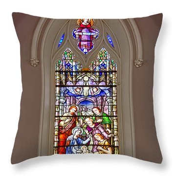 Baby Jesus Stained Glass Window Throw Pillow by Susan Candelario