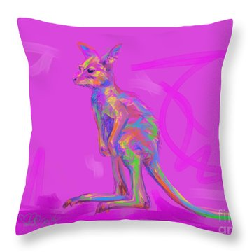 Throw Pillow featuring the painting Baby Kangaroo by Go Van Kampen