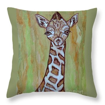 Baby Longneck Giraffe Throw Pillow