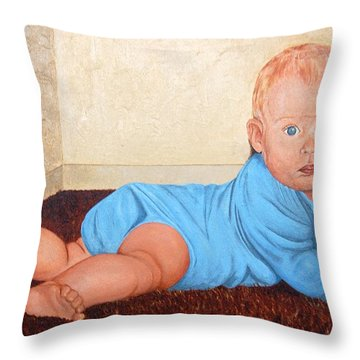 Throw Pillow featuring the painting Baby Marcus by AnnaJo Vahle